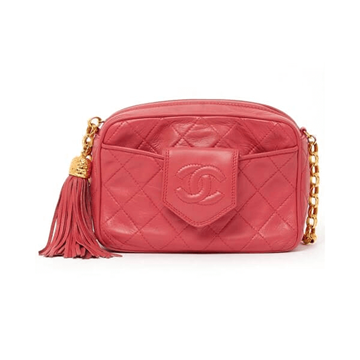 Chanel 1980s quilted camera style gold tassel pink vintage bag
