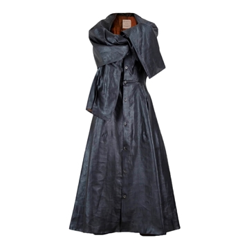 Picture of Yohji Yamamoto 1990s coated silk dark grey vintage dress
