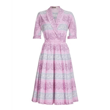 Horrockses 1950s Cotton Leaf Print pink vintage Dress