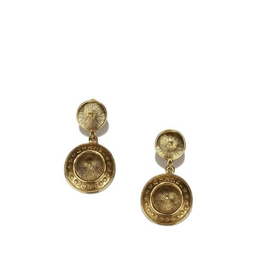 Chanel Gold Tone Drop Clip On vintage Earrings