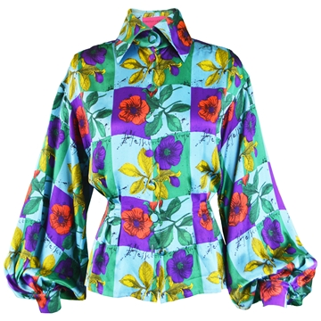 Christian Lacroix 1990s Silk Balloon Sleeve Vintage Blouse