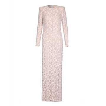 Andre Laug Couture 1970s Runway Sequinned Pink & White vintage Full Length Dress