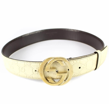 Gucci Cream Leather Monogram vintage Belt