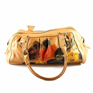 galliano-brown-printed-leather-bag