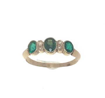 Picture of Vintage 1920s Emerald & seed pearl rose gold ring