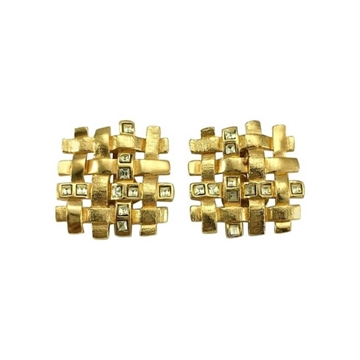 Yves Saint Laurent 1980s Woven pale green paste inlay Gilt vintage Earrings