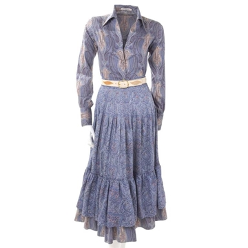 Yves Saint Laurent Rives Gauche 1970s Paisley Peasant Blue Vintage Shirt and Skirt with Matching Belt