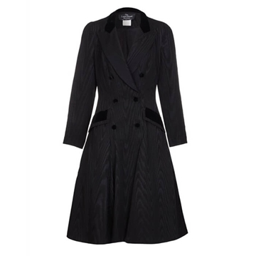 Louis Feraud 1980s Moire & Velvet Fitted black vintage Coat Dress