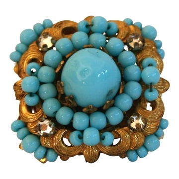 Miriam Haskell 1960s Turquoise Bead Vintage Ring