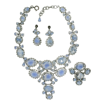 Francis Winter for Christian Dior 1950s Vintage Necklace, Brooch and Earrings Set