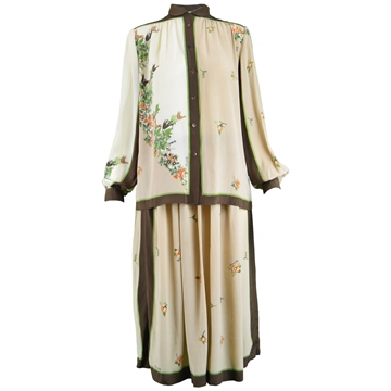 Domitilla 1970s Italian Silk Vintage blouse & skirt set