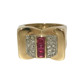 Vintage 1950s Art Nouveau style Diamond & Ruby ring