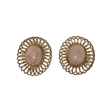 Vintage 1920s Art Deco cabochon cut rose quartz gold earrings