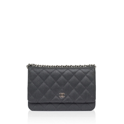 Chanel Caviar leather black vintage Wallet On Chain