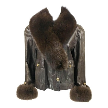 Chanel 1980s Leather & Fox Fur Collar & Cuffs brown vintage jacket