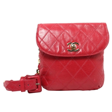 Chanel Quilted Leather Chain Belt Red Vintage Waist Bag
