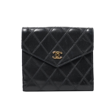 Chanel CC Mark bleather black vintage Wallet