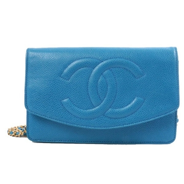 Chanel Caviar CC Stitch Chain blue vintage wallet bag