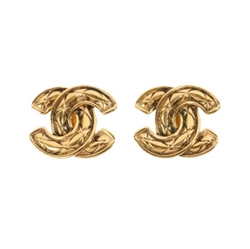 Chanel Matelasse QUILTED CC Mark VINTAGE Earrings