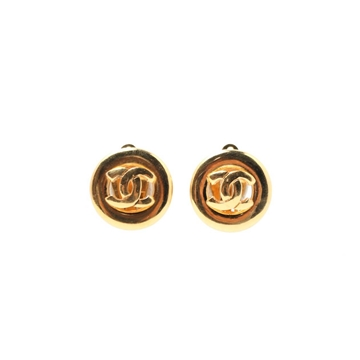 Chanel CC Mark Cutout Design Round vintage Earrings