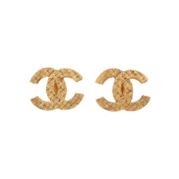 Chanel Tweed CC Mark gold tone vintage Earrings