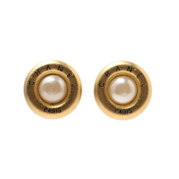 Chanel 1990s faux pearl round gold tone vintage earrings