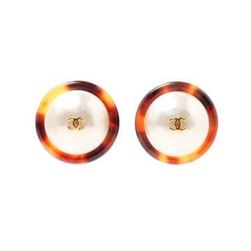 Chanel 1990s faux pearl & brown surround vintage earrings