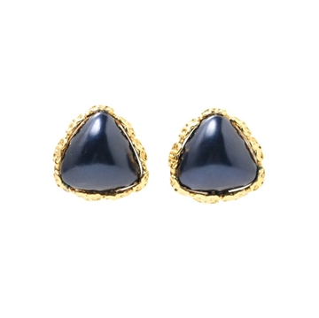 Chanel CC logo Stone Navy blue vintage earrings