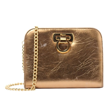 Ferragamo Gancino Mini gold vintage shoulder Bag