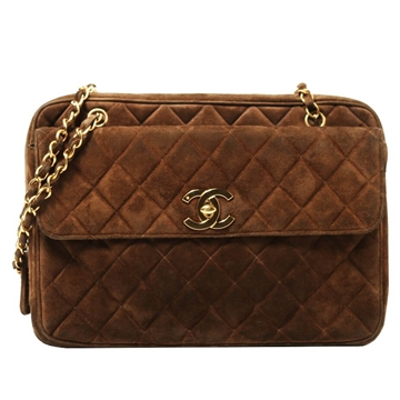 Chanel Suede Matelasse brown vintage shoulder Bag