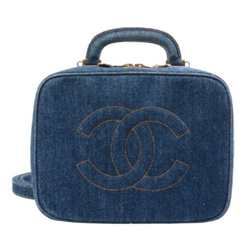 Chanel Denim CC Stitch Vanity 2way blue vintage top handle Bag