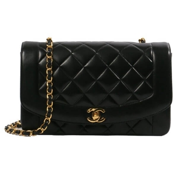 Chanel Edge Design Diana 25cm Black vintage shoulder bag