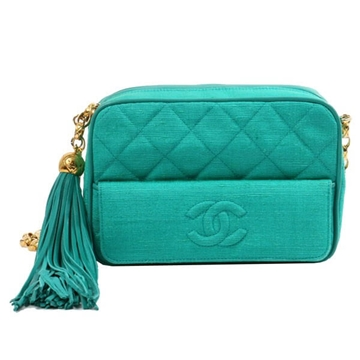 Chanel coco logo tassel detail canvas green vintage bag