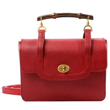 Gucci Pig Skin Bamboo Square 2way red vintage top handle bag