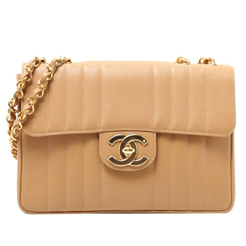 Chanel Caviar Vertical Stitch Classic Flap jumbo beige vintage shoulder bag