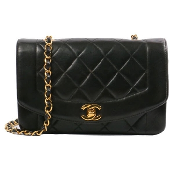 Chanel Edge Design Diana 23cm Black vintage shoulder bag