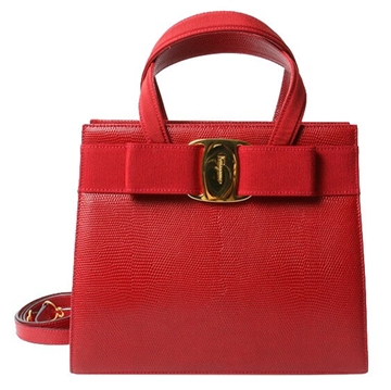 Ferragamo lizard effect Valara ribbon 2 way red vintage bag
