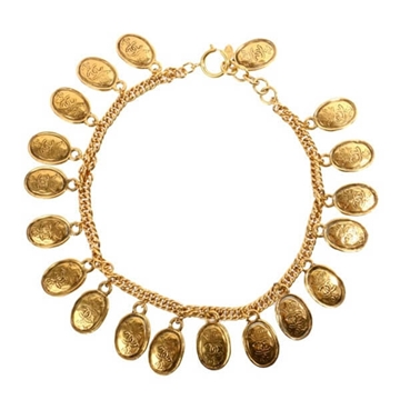 Chanel CC Mark Coin Plate gold tone vintage Necklace
