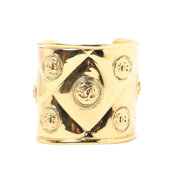 Chanel quilted CC logo wide gold tone vintage cuff bracelet