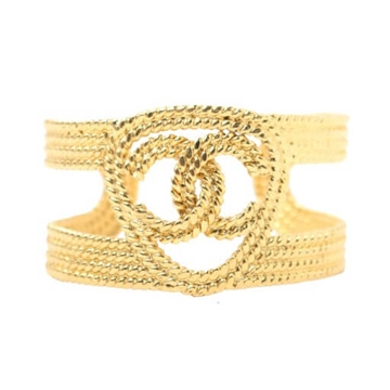 Chanel CC Mark gold tone Cutout vintage Bangle bracelet