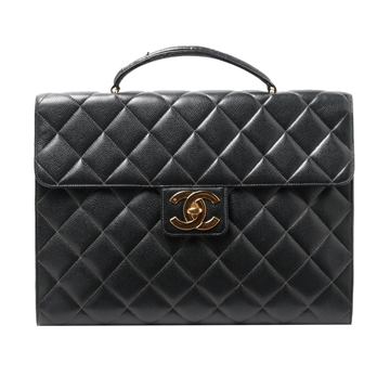 Chanel Caviar Lamb Skin Matelasse black vintage Brief Case