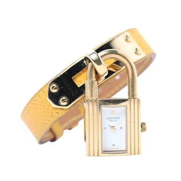 Hermes Kelly yellow leather strap vintage ladies watch
