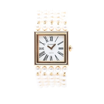 Chanel 18K gold & faux Pearl Mademoiselle vintage ladies watch