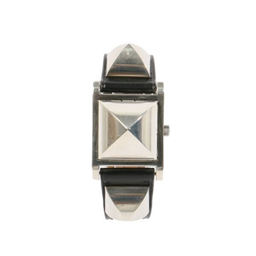 Hermes Medor sterling silver & black leather vintage watch