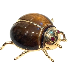 14 k gold  vintage brooch with tiger eye and rubies
