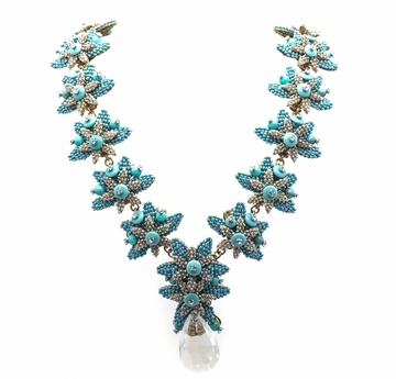 STANLEY HAGLER FLORAL 'V' Shaped turquoise & gold tone vintage NECKLACE