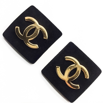 CHANEL 1984 SUEDE & GILT LOGO black VINTAGE EARRINGS