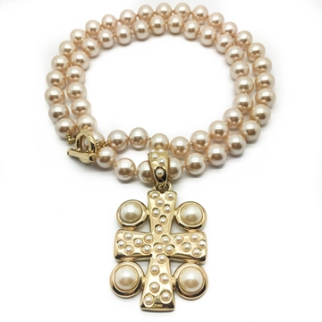 GIVENCHY PEARL ROPE WITH GILT & PEARL CROSS vintage PENDANt NECKLACE