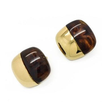 GIVENCHY 1970s FAUX TORTOISESHELL & GILT VINTAGE CLIP EARRINGS