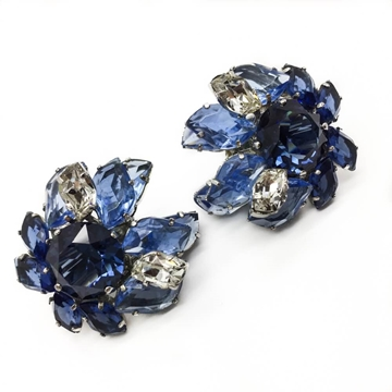 CHRISTIAN DIOR 1950s FAUX SAPPHIRE & DIAMOND CRYSTAL CLIP vintage EARRINGS